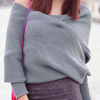 Gray Off Shoulder Wrap Detail Long Sleeve Knit Sweater