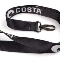 Costa Del Mar Lanyard Logo, Black/White