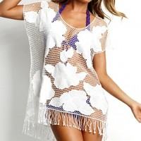 Seafolly Kailua Beach Cover-up in White - Buy this Stunning Crochet White Designer Beach Cover-Up at Coco Bay