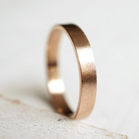Wedding Ring, Flat Wedding Band, 14k Rose Gold Ring, Palladium Ring, Mens Wedding Band, Unisex Wedding Band, Gift For Him, Anniversary Gift