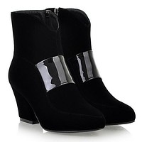 Black Ankle Boots Zipper High Heels Platform Shoes Woman