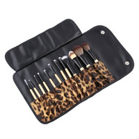 12 Pc Makeup Brush Beauty Cosmetic Contouring Professional Set with Leopard Pouch