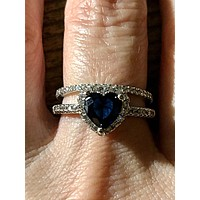 A 1.8T Heart Cut Sapphire Blue Russian Lab Diamond Bridal Set