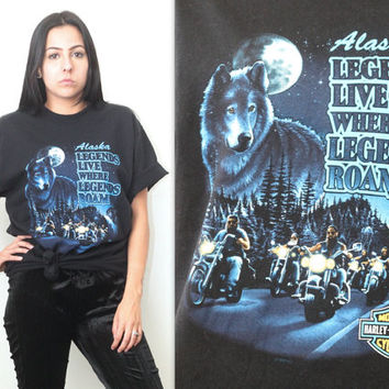 Vintage 90s Harley Davidson // 3D HD Wolf Graphic T Shirt // Legends Live Where Legends Roam Tee // XS Extra Small / Small / Medium / Large