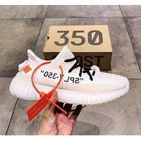 Samplefine2 Adidas Yeezy Boost 350 V2 x Off-White co-branded new men's and women's popcorn running shoes