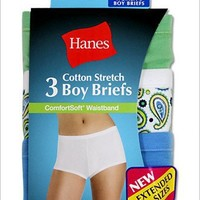 Hanes Plus Size Womens Comfortsoft Cotton Stretch Boy Briefs 3 Pack, 12-Assorted