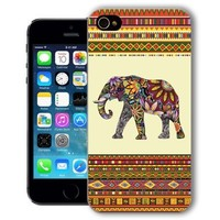 ChiChiC Iphone Case, i phone 5 5s case, Iphone5 Iphone5s covers, plastic cases back cover skin protector,geometric colorful ethnic elephant on yellow orange background