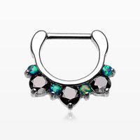 Fire Opal Multi Gem Sparkle Deuce Septum Clicker