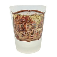 German Shot Glass Village Dancers Frosted