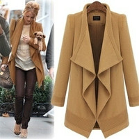 2 Colors Big lapel long coat jacket  woolen blouse plus size trench coat windcheater windcoat wool jacket woman winter coat.  185