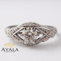Natural Diamond Engagement Ring-14K White Gold Diamond Engagement Ring