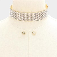 """13"""" gold crystal layered collar choker necklace .40"""" earrings 1"""" wide bridal"""