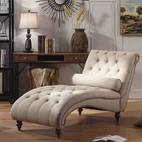 Luxorious Indoor Chaise Lounge Chair with Nailhead Trim and Accent Toss Pillow