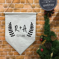 Custom banner flag and hanging device, initials gift , Personalized wall hanging decoration, Custom Phrase christmas gift