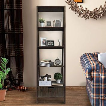 4 Shelf Wooden Ladder Bookcase with Bottom Drawer, Distressed Brown By The Urban Port