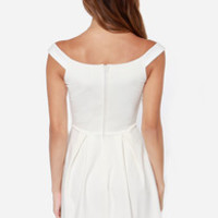 LULUS Exclusive Be Direct Off-the-Shoulder Ivory Dress