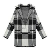 ZLYC Women Lady Black and White Check Plaid Longline Cardigan Knitted Coat Sweater Black