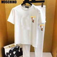 Moschino New fashion letter pig couple top and pants two piece suit White