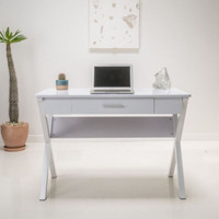 Sturdy Writing Desk With Storage Drawer Home Office Furniture White Finish New
