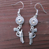 38 Special Bullet Earrings with Pistol Charm and Swarovski Crystal Accents - Small Thin Cut - Charm