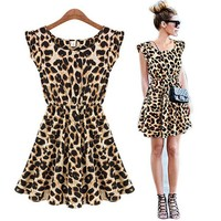 ETOSELL Sexy Lady CrewNeck Leopard Gown Party Skater Swing Tunic Dress