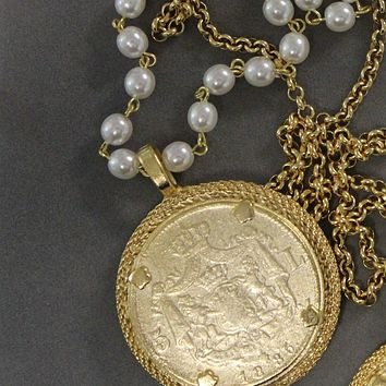 18K Yellow Gold French Vintage Coin Pearl Necklace