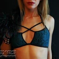 Sexy X-TOP Bra - Teal Stretch Lace - Sexy Lingerie Sets - Boudoir style - Valentine gift