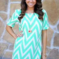 Sweet As Candy Chevron Dress: Cockatoo | Hope's