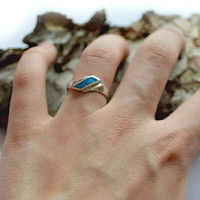 Vintage Turquoise Inlay Ring Vintage Sterling Silver Ring