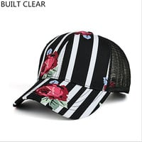 (BUILT CLEAR) 2017 ladies outdoor roses printed hat, casquette summer sports shade baseball cap reissue ladies hat snapback caps