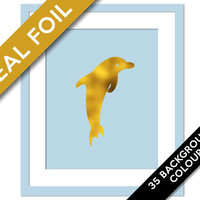 Dolphin Art Print - Gold Foil Print - Animal Poster - Boys Bedroom Art - Sealife Decor - Nature Print - Dolphin Poster - Beach Art Print