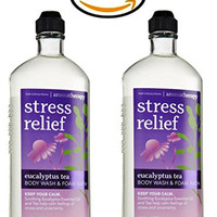 Lot of 2 Bath & Body Works Aromatherapy Eucalyptus Tea Body Wash & Foam Bath 10oz.
