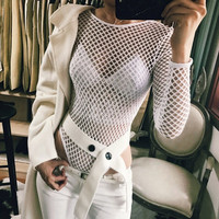 Sexy Hollow Reticular Long Sleeve Backless Romper Jumpsuit