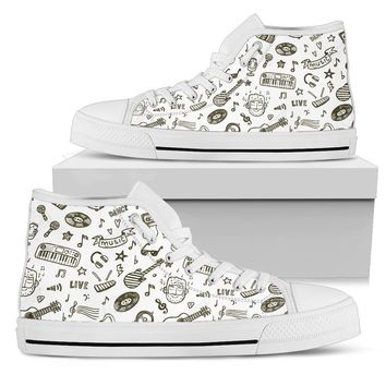 Music Is Life Men's High Top Canva Shoes