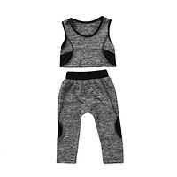 Children Tracksuit For Girls Kids Baby Girls Yoga Vest Crop Tops Elastic Pants Leggings Baby Girls Sport Clothes Outfit