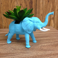 Up-cycled Blue Elephant Planter