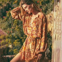 Amethyst Keyhole Smock Dress Boho Floral Print Dresses Loose Casual Beach Mini Dress Women's Clothes Dresses