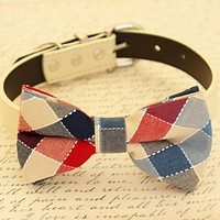Plaid bow tie dog collar, Black Gray Brown Ivory Champagne Copper Blue, aqua or Navy Leather dog collar, Dog bow tie collar, leather collar , Wedding dog collar