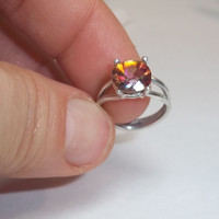 Rainbow Topaz Ring- Sterling Silver Ring- Gemstone Ring- Pinkie Ring- Gifts For Her