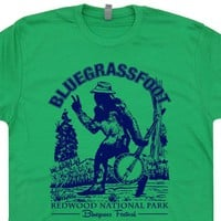 Bluegrassfoot Vintage Bluegrass T Shirt Bigfoot T Shirt Banjo T Shirt