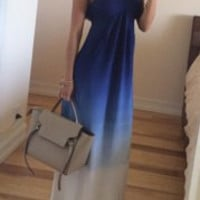 Blue Ombre Halter Sleeveless Maxi Dress