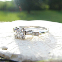 Vintage Diamond Engagement Ring, Beautiful Fiery Diamonds, Baguette Side Stones, Lovely Classic Details and Hand Engraving in 14K White Gold