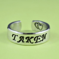 TAKEN- Hand Stamped Aluminum Ring, Taken Ring With Double Heart, Statement Ring, Unisex Love Ring, Personalized Cuff Style Ring