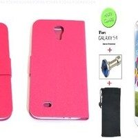 """""""Pink"""" Faux Leather Bracket Flip Skin Case Cover Wallet With Magnetic Closure & KickStand For Samsung Galaxy S4 (INCLUDED: MATTE, ANTI-GLARE FRONT SCREEN PROTECTOR + DIAMOND EARPHONE DUST PLUG + PHONE DUST BAG POUCH)"""