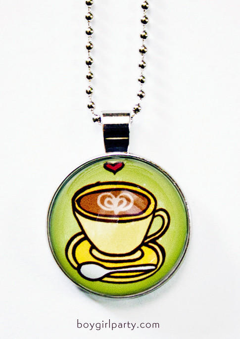 Image of Coffee Necklace - Glass Necklace - Cafe Necklace