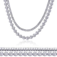 "Jewelry Kay style Men's Silver Toned CZ Iced Out 24"" Flower Chain & 18"" Tennis Chain Necklace Set"
