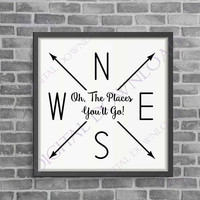 Oh the places you'll go Vector Download - Ready to use Digital File, Vinyl Design Saying, Printable Quote, Nursery Book Quote, inspirational