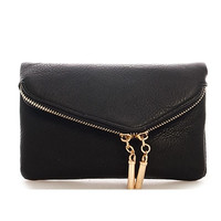 Double Zip Fold Over Envelope Wallet Clutch - Black or Red