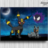 umbreon pokemon print gastly poochyena pokemon gifts
