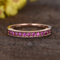 Pink Sapphire Rose Gold Wedding Band Anniversary Ring Channel Set 14k Matching Design